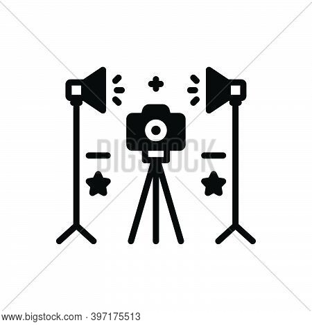 Black Solid Icon For Studio Workshop Workroom Photo Camera Digital Photographic Photographer Light F