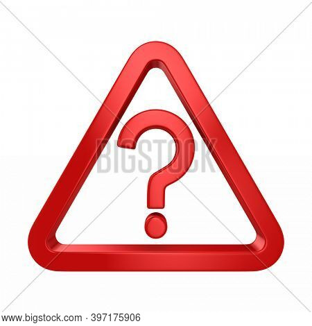 Red triangle and question on white background. Isolated 3D illustration
