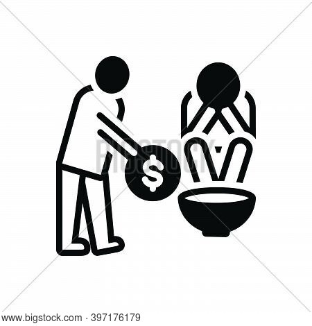 Black Solid Icon For Poor Indigent Poverty-stricken Penurious Help Penniless Beggarly Hapless Povert