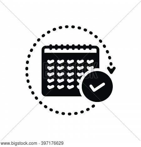 Black Solid Icon For Annual  Yearly Per-annum Once-a-year Every-twelve-months Agenda Calender