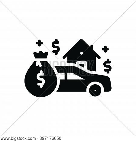 Black Solid Icon For Asset Heirloom Patrimony Expenditure Money Budget Finance  House Money-wage Car