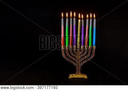 Chanukah A Burning Menorah Symbol Of Judaism Traditional Jewish Holiday