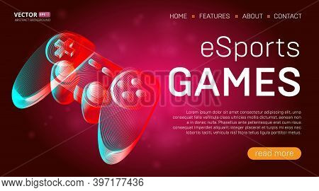 Esports Games Landing Page Template With A Gamepad Or Retro Game Console Controller Banner. Outline