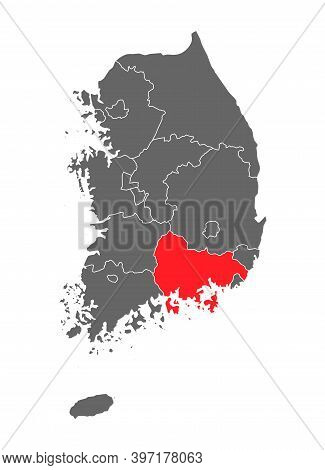 Map Korea Of Republic With Red Detailed Province, South Korea Isolated On White Background
