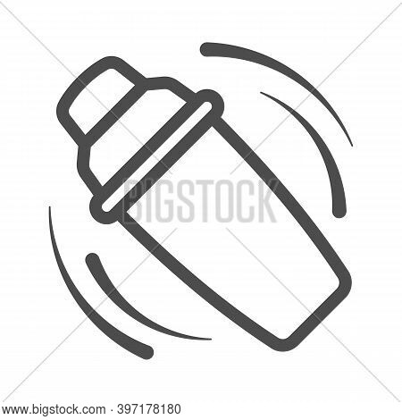 Shaking The Shaker Line Icon, Bartenders Day Concept, Bar Shaker Sign On White Background, Cocktail