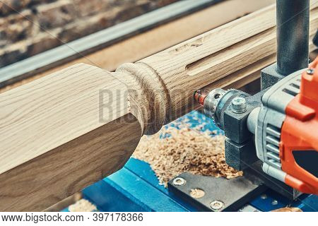 Turning Wooden Stair Balusters. Wood Stair Balusters Manufacturing Process On A Turning Lathe With M