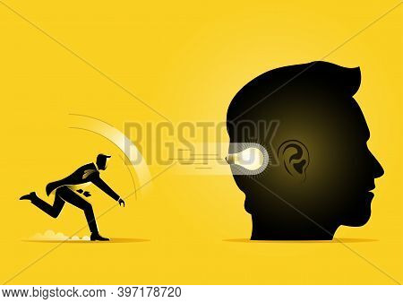 An Illustration Of Business Man Throwing Idea To Giant Head