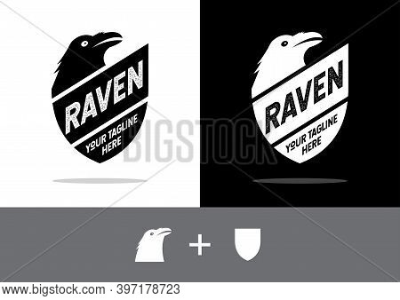 Shield And Raven Logo. Shield Design, Vector With A Black Raven.