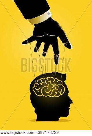 An Illustration Of A Puppet Master Controlling Mans Mind