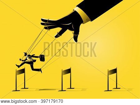 An Illustration Of A Puppet Master Controlling Silhouette Of Businessman Run And Jumping Across Hurd