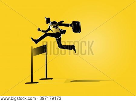 An Illustration Of A Businessman Run And Jumping With Briefcase Across Hurdles Obstacle