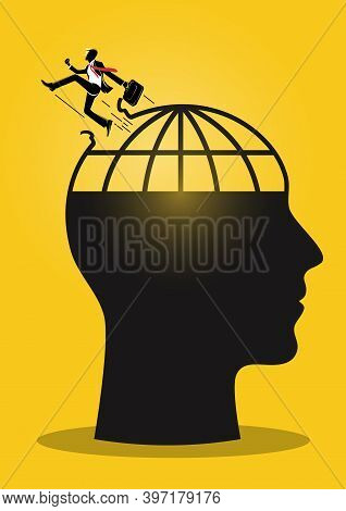 An Illustration Of A Businessman Jumping Out Of Giant Head Mind