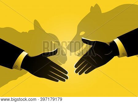 An Illustration Of Hand Shakes With Shadow Depicting A Wolf And A Sheep