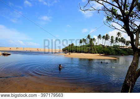 Mata De Sao Joao, Bahia / Brazil - September 23, 2020: View Of The River Imbassai Near The Mouth In