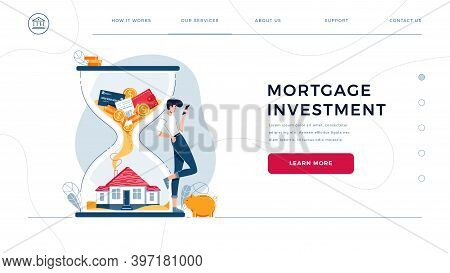 Mortgage Investment Homepage Template. Investor Awaits A Generating Profit From Long-term Investing.