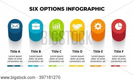 3d Vector Perspective Infographic. Presentation Slide Template. 6 Step Options. Chart Concept. Color