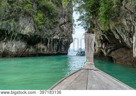 Amazing View From Over Longtail Boat Travel Vacation Background And Beautiful Sea Tropical Island In