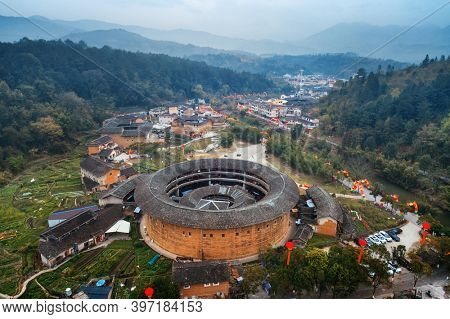 Aerial view of Tulou, the unique dwellings of Hakka in Fujian, China.