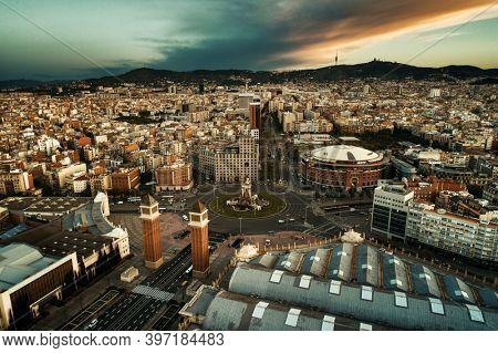 Aerial view of Plaza Espana in Barcelona in Spain.