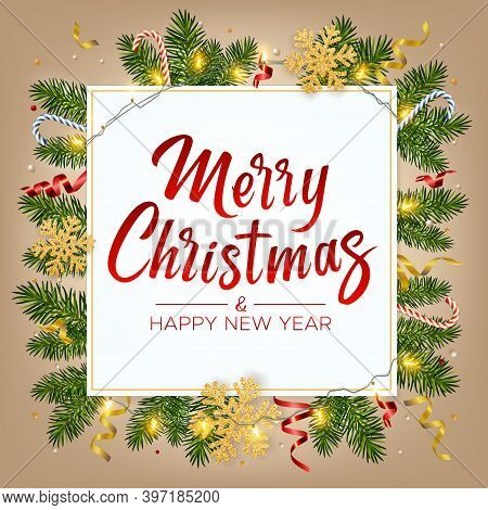 Christmas Background With Lettering Merry Christmas, Realistic Pine Branches, Shining Garlands, Gift