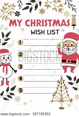 Christmas Wish List Design Template. Vector Illustration. Hand Drawn Decor From Holiday Background.