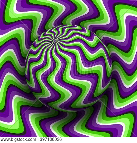 Optical Illusion Hypnotic Vector Illustration Of Rotating Curved Stripes Pattern. Patterned Purple G
