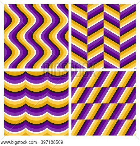 Set Of Purple Golden Optical Illusion Seamless Patterns Of Moving Wavy Stripes, Herringbone, Waves A