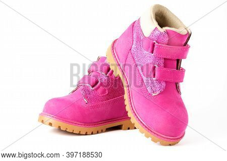 Pair Of Pink Children Nubuck Boots With Velcro Fasteners For Girls Isolated