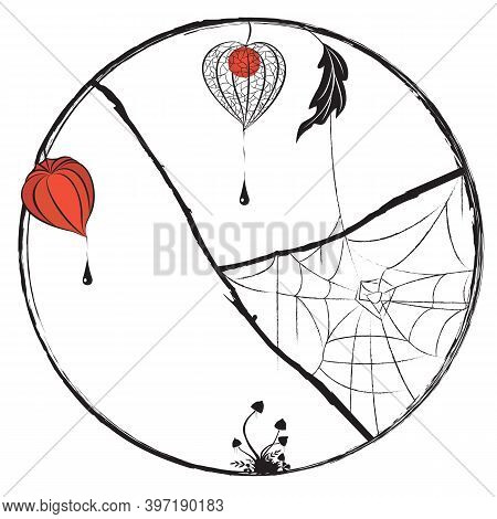 Vector Round Frame With Fruit With Husk Of Physalis. Mushrooms And Spiderweb  In Black, White And Or