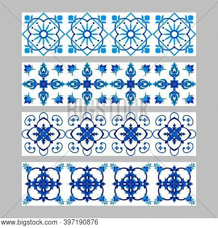 Set Of Azulejos Portuguese Traditional Ornamental Tile Borders, Blue And White Pattern. Vector Illus