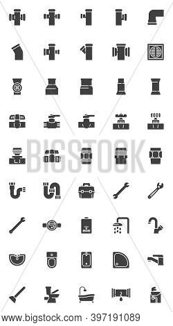 Plumbing Service Vector Icons Set, Modern Solid Symbol Collection, Filled Style Pictogram Pack. Sign