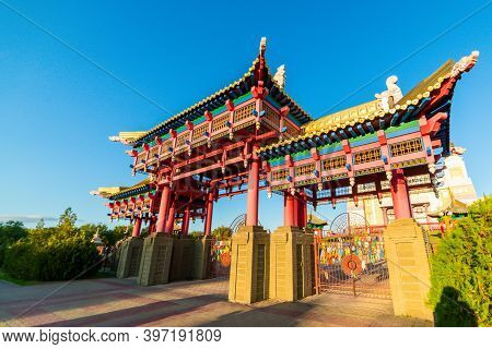 Gate To The Buddhist Temple. Om Mani Padme Hum Or O, The Jewel In The Lotus, The Mystic Formula Of T