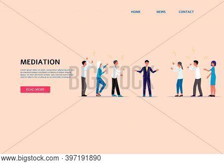 Mediation Landing Page For Internet Website, Flat Cartoon Vector Illustration