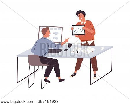 Office Communication. Two Young Male Colleagues Discussing Their Business Project At The Workplace.