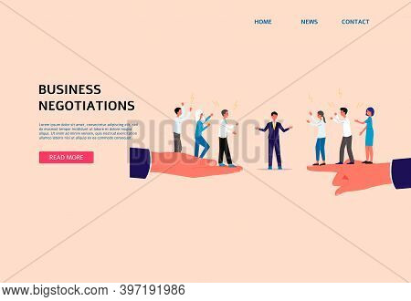 Mediation In Business Negotiations Web Banner Flat Vector Illustration.