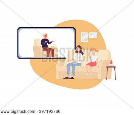Woman With Daughter On Psychologist Online Session Flat Vector Illustration.