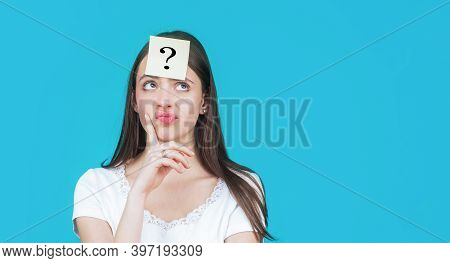 Thinking Woman With Question Mark. Doubtful Girl Asking Questions To Himself. Paper Notes With Quest
