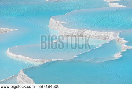Pamukkale Travertines Pools And Terraces. Denizli, Turkey. Natural Site Of Hot Springs And Travertin
