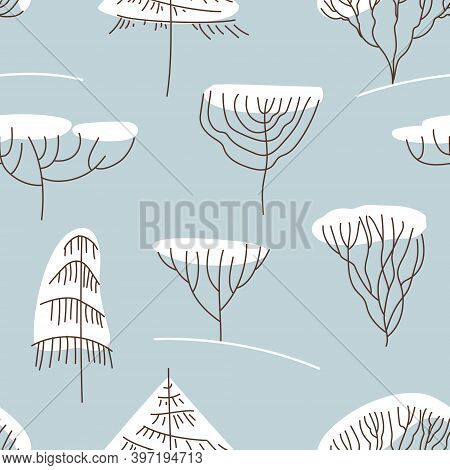 Seamless Pattern With Winter Trees In Line Art Style. Stylized Trees Spruce, Pine, Willow, Larch. De