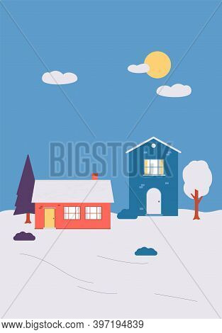 Winter Countryside Snowy Landscape With Houses Flat Vector Illustration.