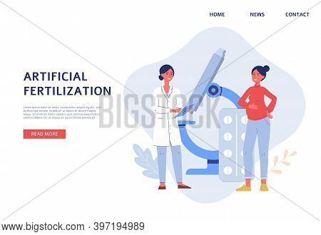 Reproductive System And Infertility Treatment Website Flat Vector Illustration.