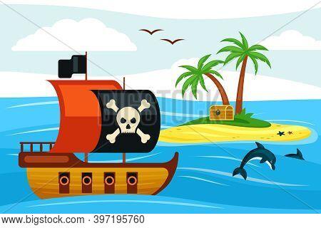 Pirate Ship Sailing Towards Treasure Island Illustration. Corsair Frigate With Black Sail Sails Near