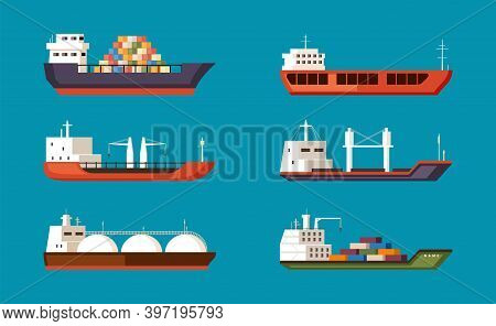 Cargo Ships Set. Large Transport Water Carriers With Industrial Volume Commercial Tankers With Sea D