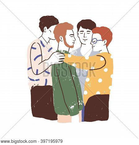 Male Friends Reunion Concept. Young Men Standing Together, Hugging And Embracing. Acceptance, Love,