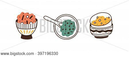 Set Of Asian Sauces In Bowls. Collection Of Japanese Flavor Condiments In Ceramic Round Ramekins Iso