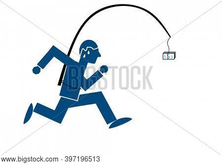 Greedy man chasing dollar bill