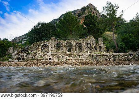 Ruins Of Olympos (olympus) Ancient Cİty. Cirali Beach. Antalya, Turkey. Travel And Tourism Backgroun