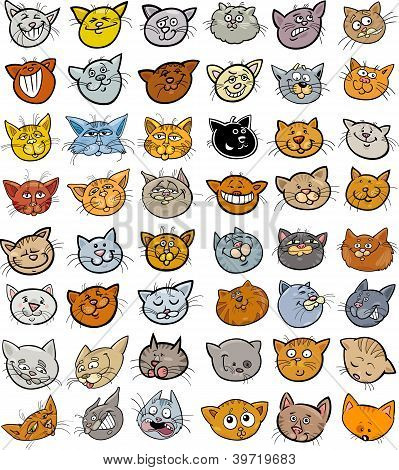 Cartoon Illustration of Different Happy Cats ot Kittens Heads Big Collection Set poster