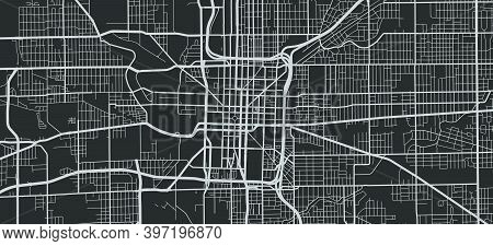 Urban City Map Of Indianapolis. Vector Illustration, Indianapolis Map Grayscale Art Poster. Street M