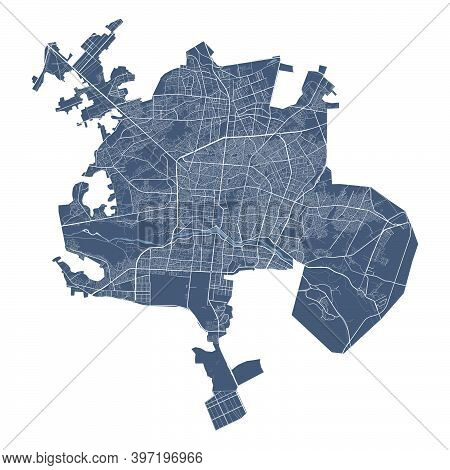 Isfahan Map. Detailed Vector Map Of Isfahan City Administrative Area. Cityscape Poster Metropolitan